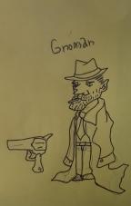 Gnoman Gumshoe, Gnome Detective. And his gun.