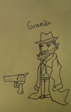 Gnoman Gumshoe, Gnome Detective. And his gun.